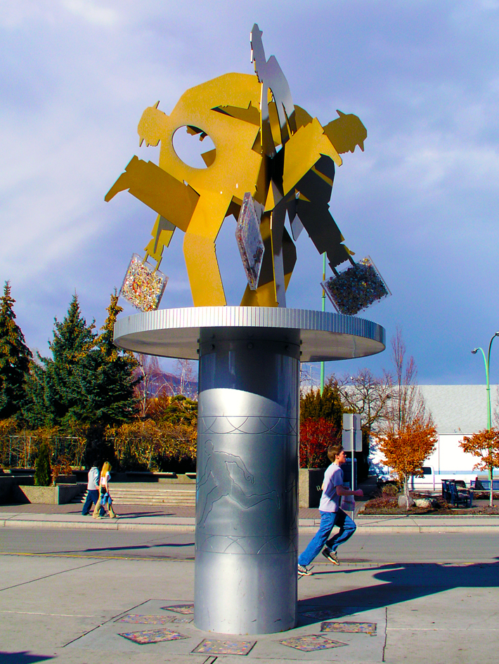 Running Man, August 2002 16'6'' h x 12' in diameter  painted steel, cast resin, found baubles Commissioned by City of Kelowna; installed at Queensway Transit Centre