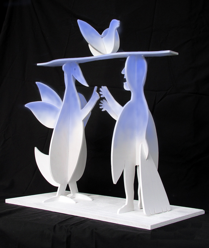 "Conversation in Blue, Marion-Lea Jamieson, 2007 wood & spray paint 24"" h x 24"" w x 12"" d"