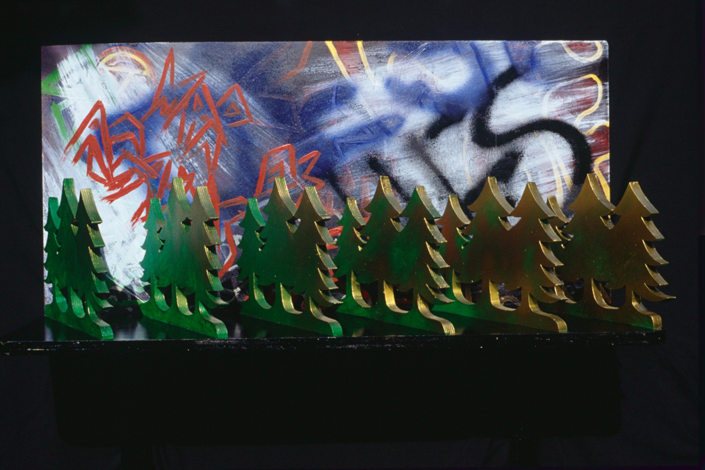 "Conversion, Marion-Lea Jamieson, June 2001 wood, board, brackets, acrylic & lacquer paints 18"" h x 36"" w x 12"" d"