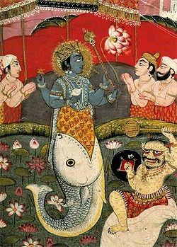 Incarnation of Vishnu as a Fish, from a devotional text