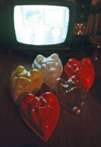 "5 Torsos with TV 1974; Marion-Lea Jamieson, formed acrylic & found objects; each , 12"" x 12"" x 3"" ."