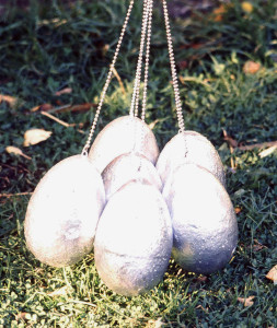 "Siver Eggs, 1974 (detail from Egg-Hanger); Marion-Lea Jamieson; 12"" h x 6"" in diameter; styrofoam & silver spray paint,"