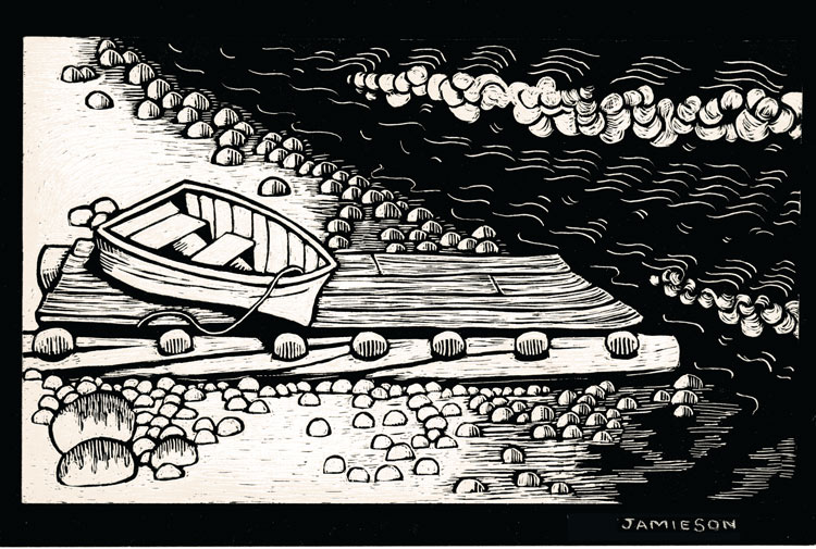 "Beached Boat, 1989 Marion-Lea Jamieson ink on paper 10"" h x 14"" w"