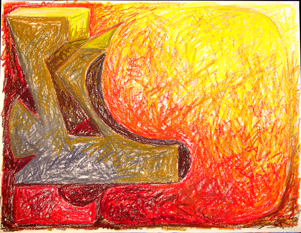 "Fractional Fiction July 2002 Marion-Lea Jamieson oil pastel on paper 20"" x 26"""
