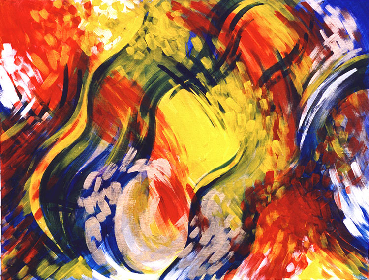 "Spirit Dance, November 1999 Marion-Lea Jamieson  acrylic on canvas,  40"" x 30"""
