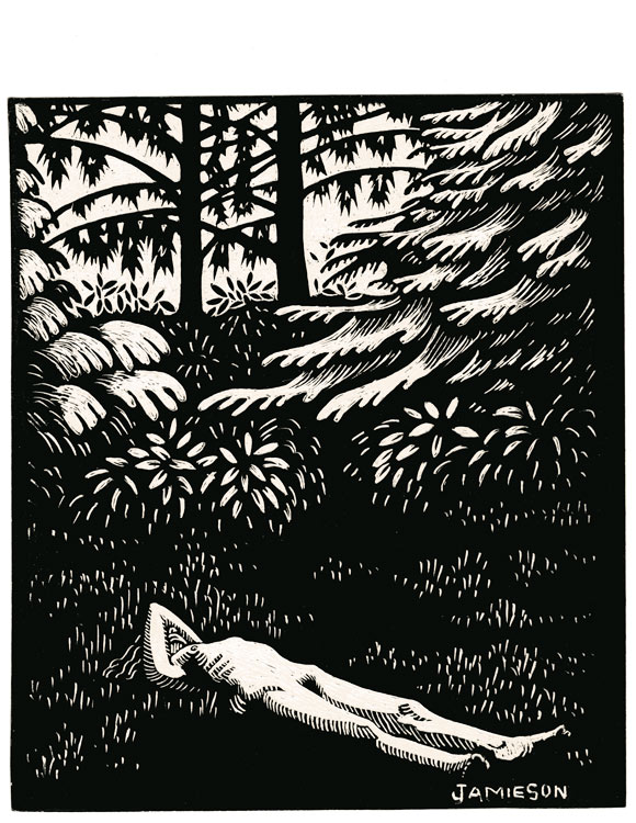 "Sunbather, 1988 Marion-Lea Jamieson ink on paper 114"" h x 11"" w"