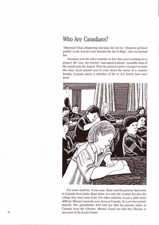 Illustration by MArion-Lea Jamieson for BC Ministry of Education Social Studies textbook, 1988