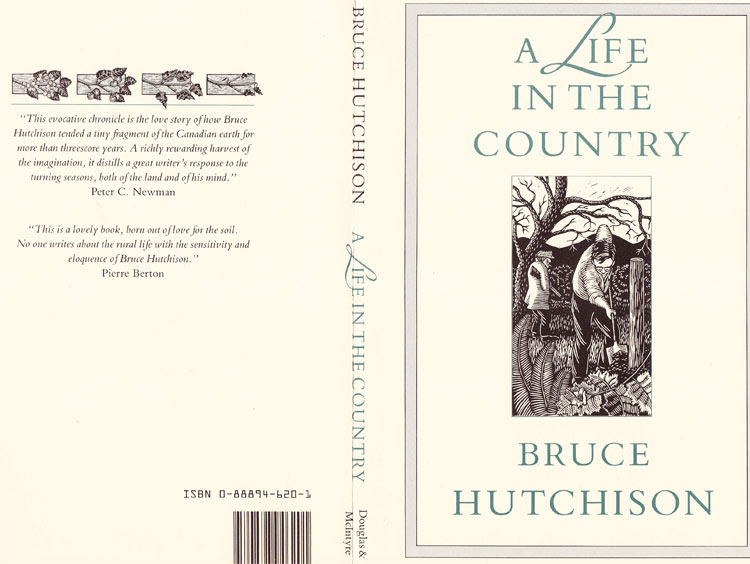 "Linocut cover illustration by Marion-Lea Jamieson for ""A Life in the Country"" by Bruce Hutchison, Douglas & McIntyre publishers, 1988"