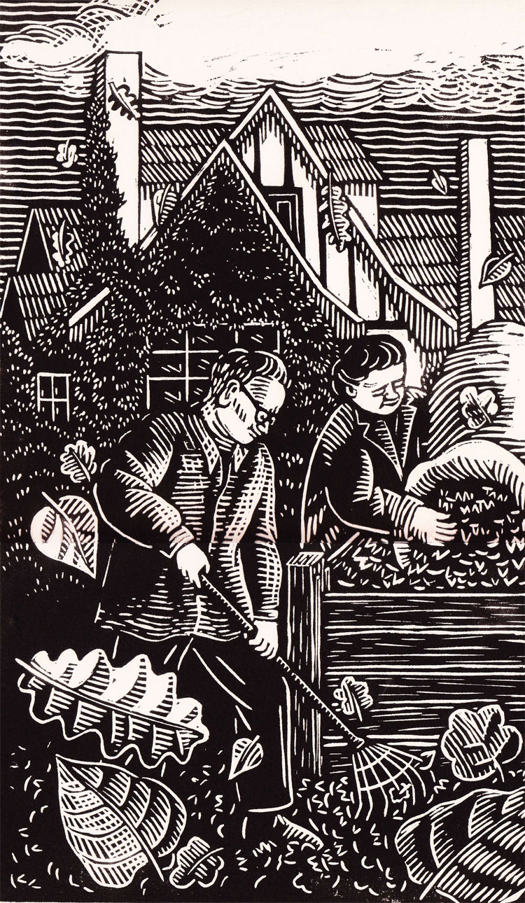 "Linocut illustration by Marion-Lea Jamieson for ""A Life in the Country"" by Bruce Hutchison, Douglas & McIntyre publishers, 1988"