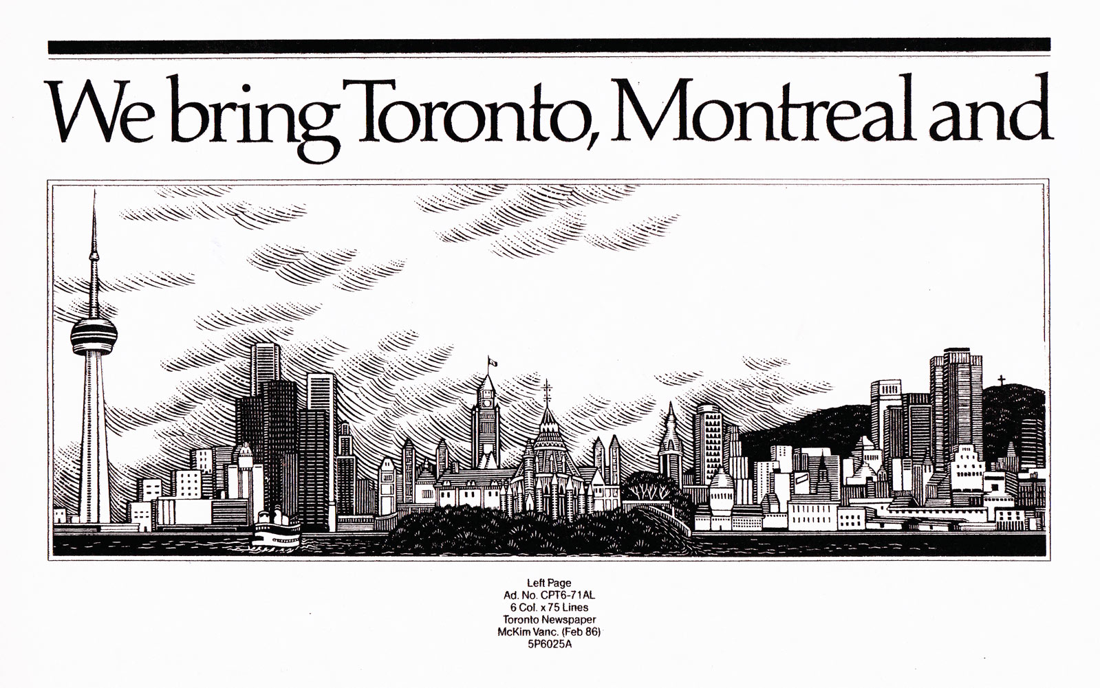 Illustration by Marion-Lea Jamieson for Canadian Pacific Airlines advertisement by McKim Advertising Ltd. 1986