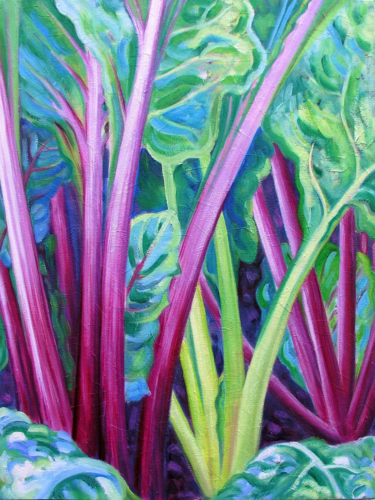 "Beta vulgaris var. cicla, 'Bright Lights', 2016 Marion-Lea Jamieson Oil on canvas 24"" h x 18"" w"
