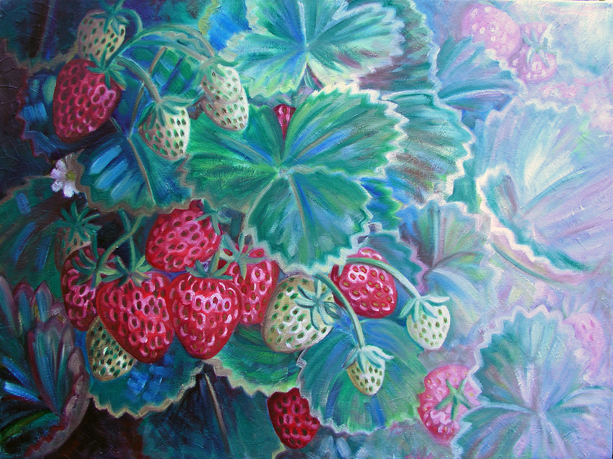 "Fragaria x ananassa, 'Albion', 2016 Marion-Lea Jamieson Oil on canvas 18"" h x 24"" w"