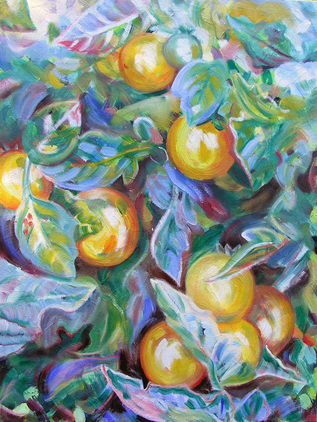 "Lycopersicum esculentum, 'Golden Nuggets', 2016 Marion-Lea Jamieson Oil on canvas 24"" h x 18"" w"
