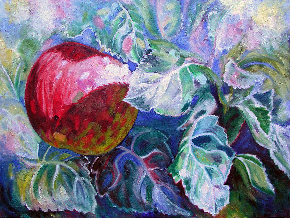"Malus x domestica, 'Gala', 2016 Marion-Lea Jamieson Oil on canvas 18"" h x 24"" w"