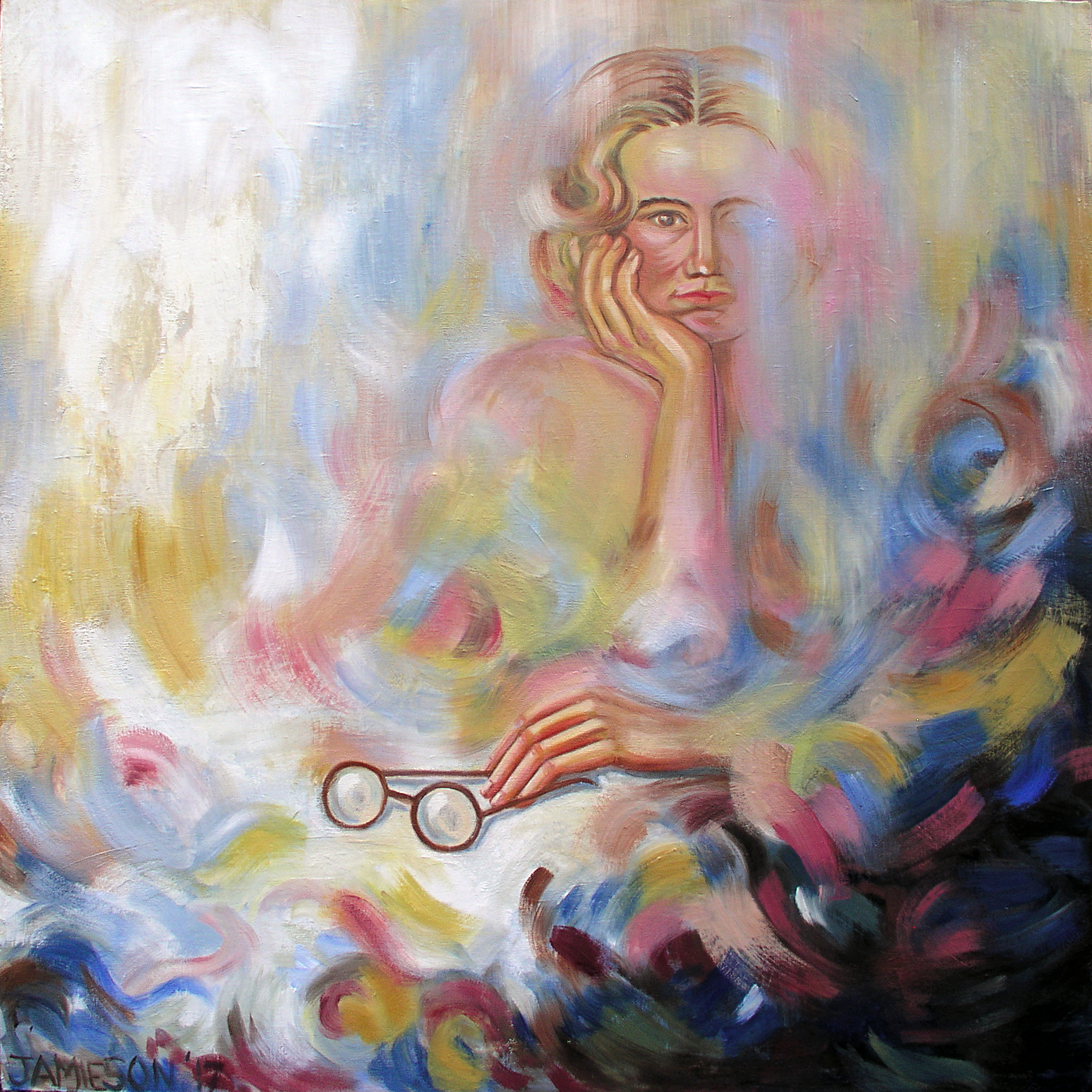 "Young woman with Glasses, April 2017, Marion-Lea Jamieson, oil on canvas, 36"" x 36"""