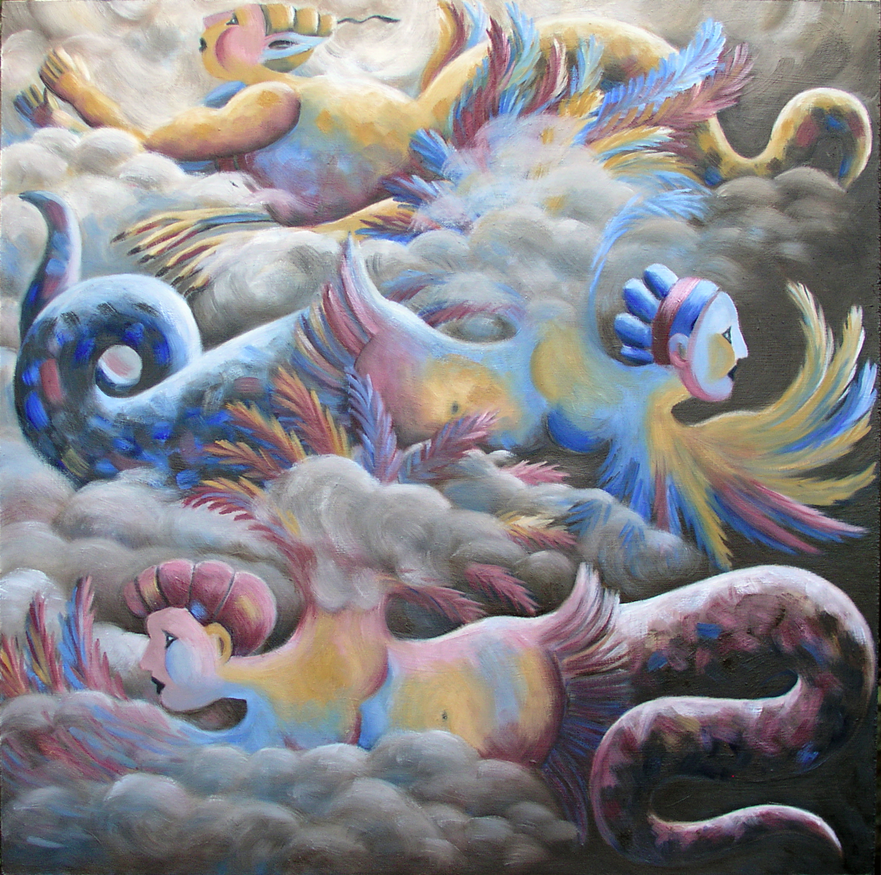 "Wingéd-Seraphim II, Dec. 2015, oil on canvas, 24"" x 24"""