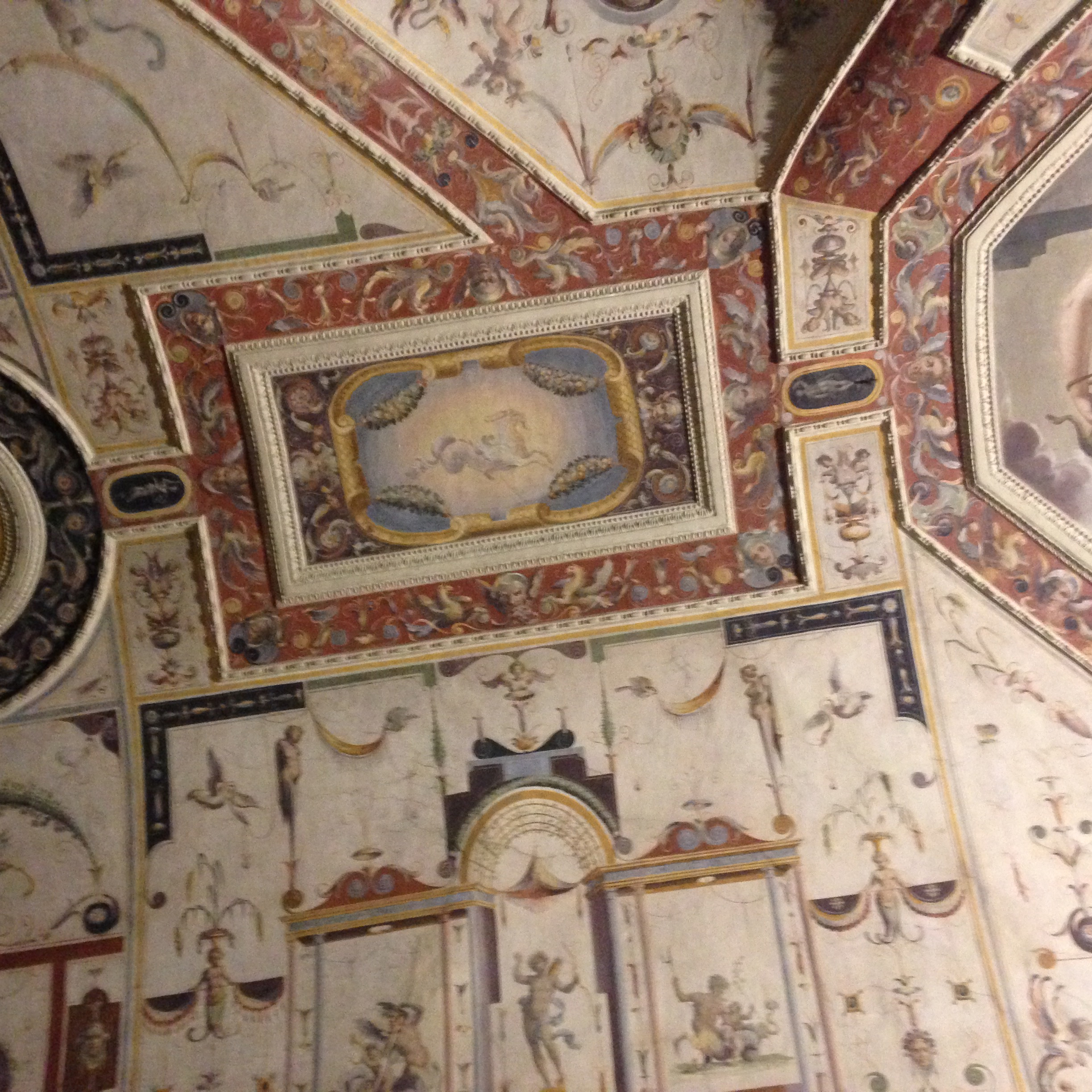 "Florentine Ceiling in the Uffizi Gallery with ""grotesques"""
