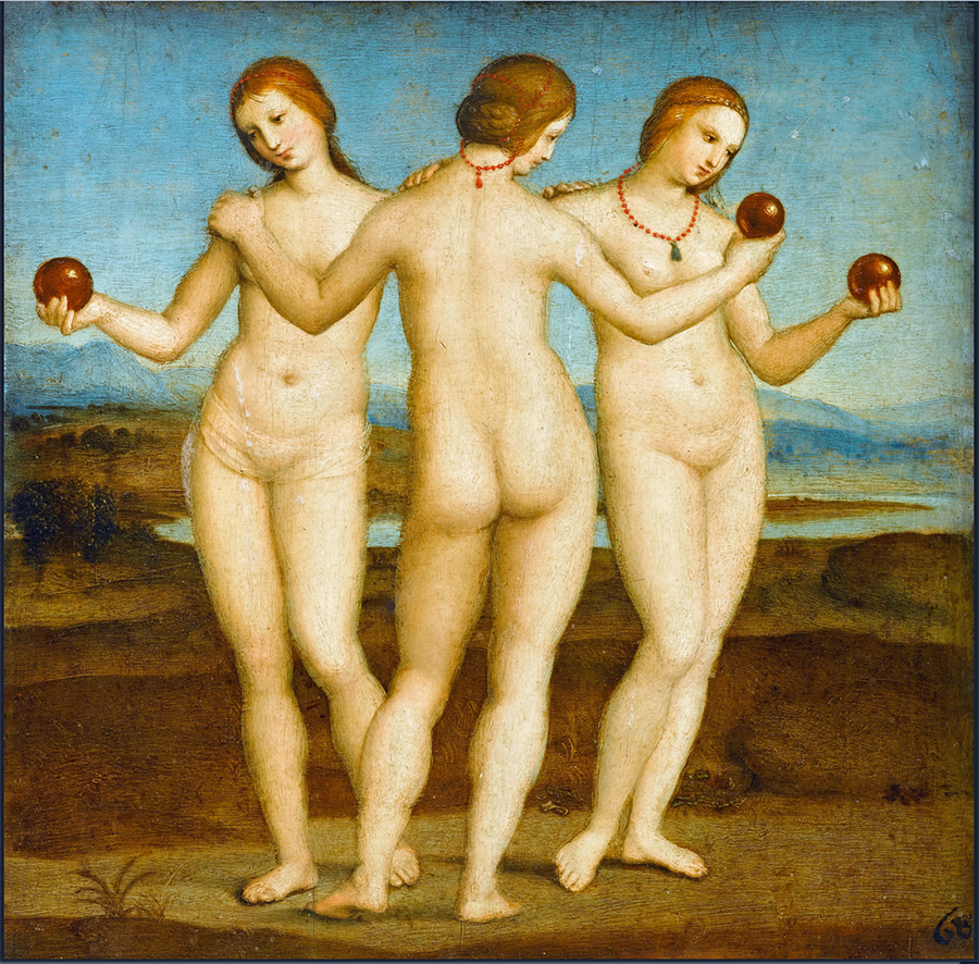 The Three Graces, 1504–1505 Raphael Oil on panel 6.7 in × 6.7 in Musée Condé, Chantilly