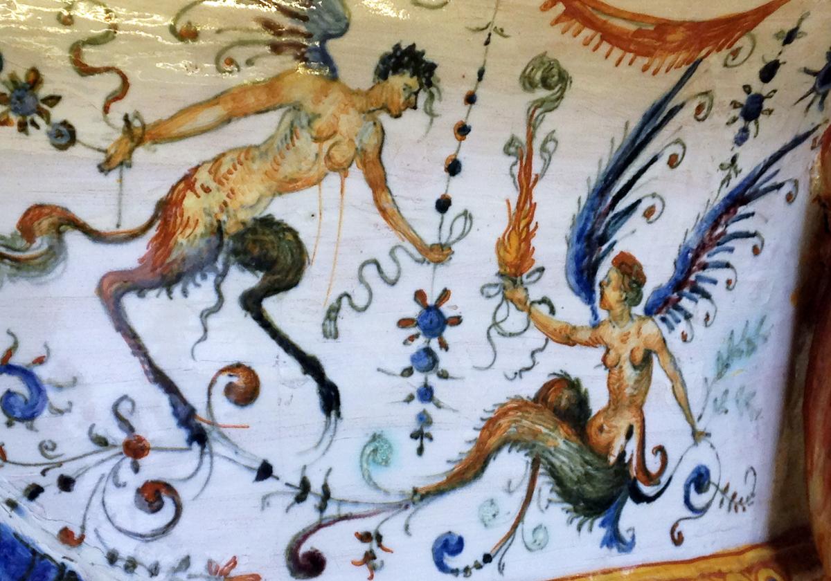 Bird Hermaphrodites 15th C. ceramic in Palazzo Vecchio, Florence, Italy