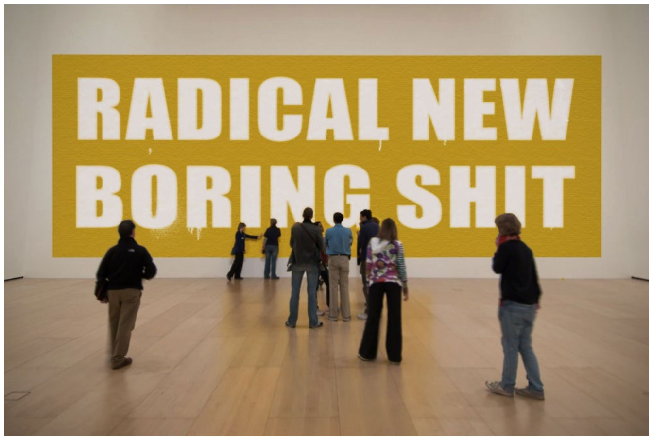 "Richard Prince, ""Radical New Boring Shit"". Luminous paint on canvas., 2015."