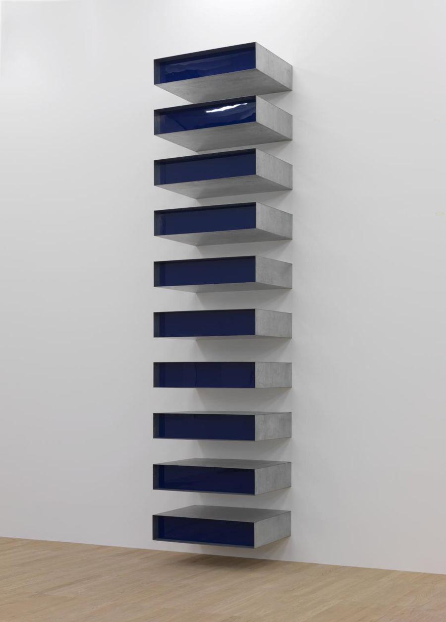 Donald Judd, Untitled (77/23 - Bernstein) 1977 Stainless steel and blue Plexiglas in 10 parts.