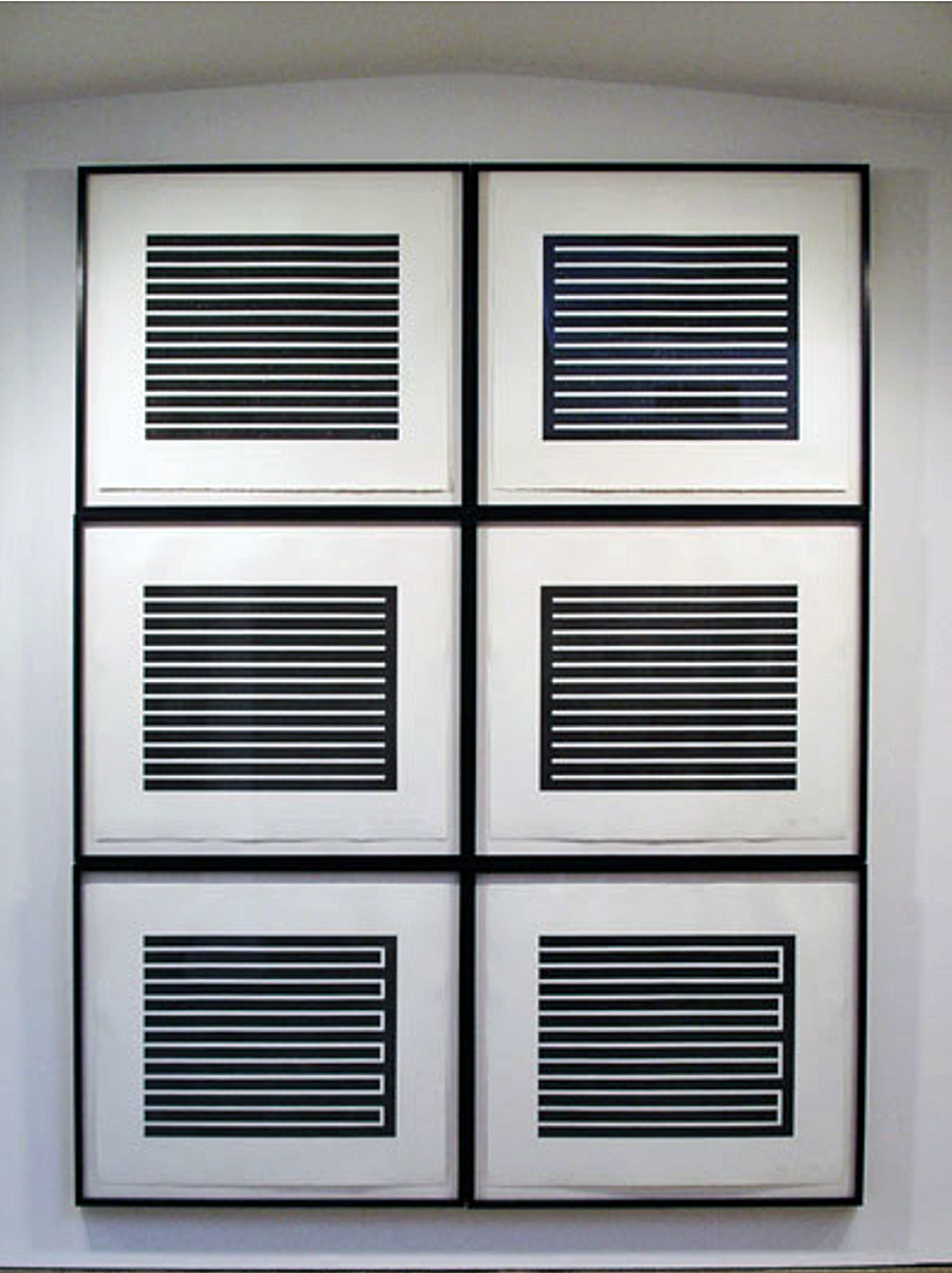 Donald Judd, Untitled 1980, set of six aquatints in black 28 3/4 x 33 3/4 inches each