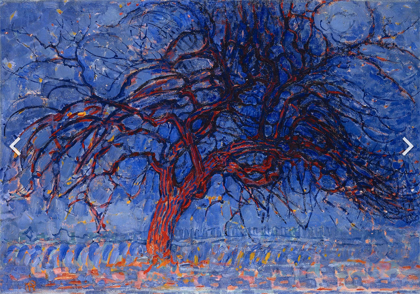 Piet Mondrian, Evening; Red Tree (Avond; De rode boom), 1908–10, oil on canvas, 70 × 99 cm, Gemeentemuseum Den Haag