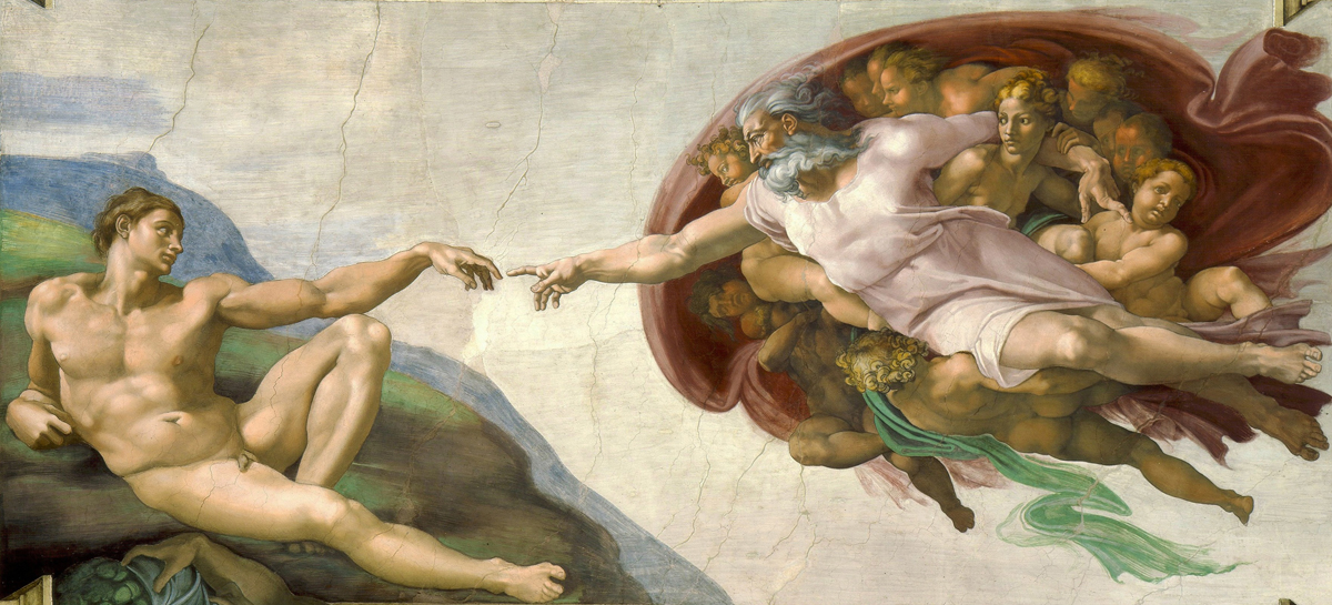 The Creation of Adam, Michelangelo , c. 1512, Fresco Dimensions280 cm × 570 cm (9 ft 2 in × 18 ft 8 in)[1]